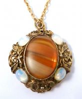 Vintage Faux Agate And Moonstone Necklace By Hollywood.